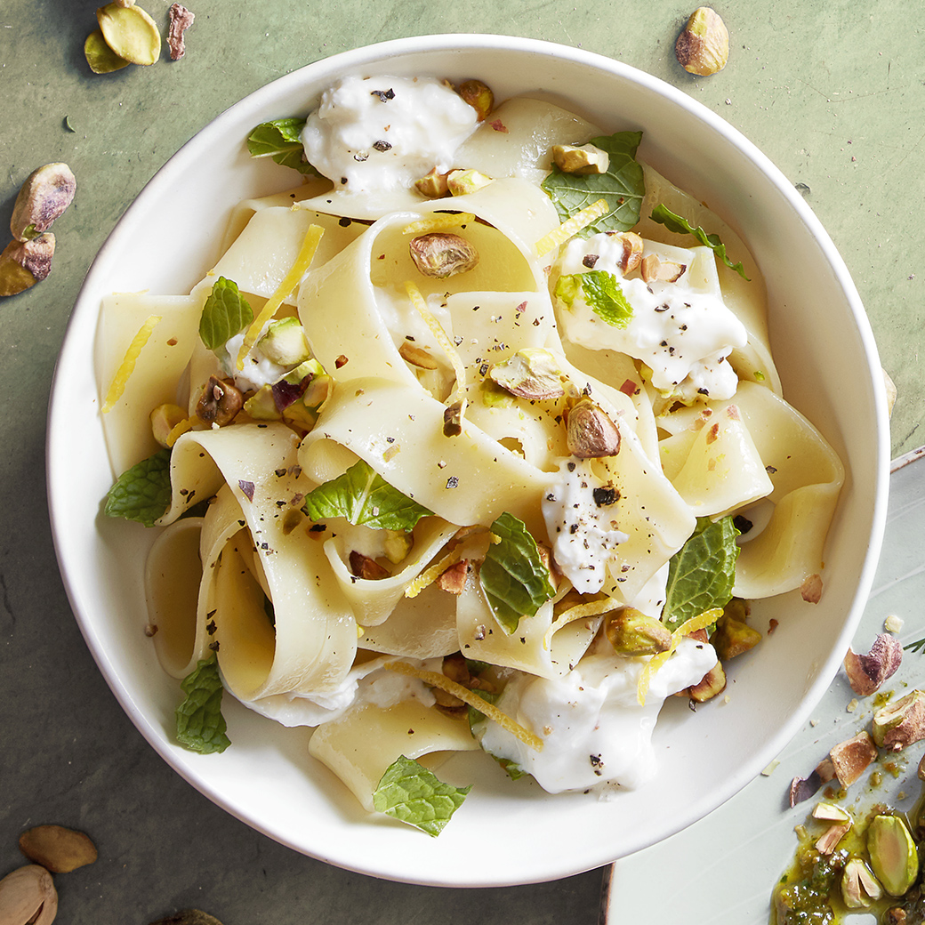 Pappardelle with Toasted Pistachios and Mint