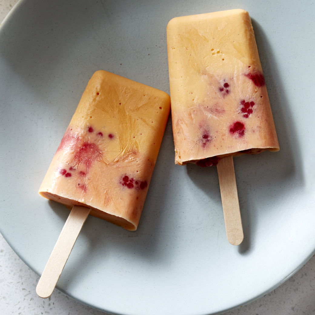 frozen sunrise pops on plate