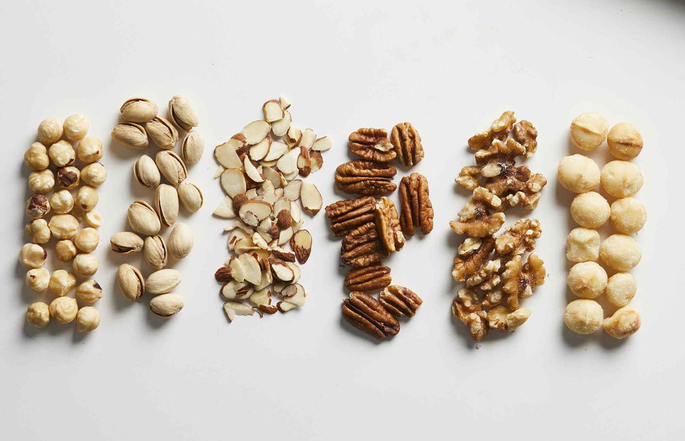 Macadamias, pistachios, almonds, pecans, walnuts, hazelnuts