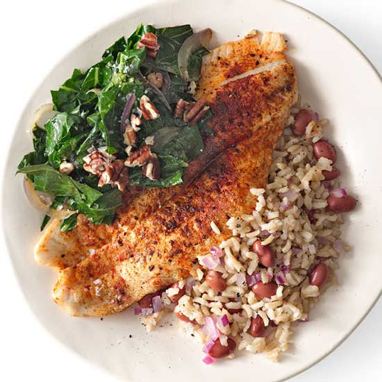 Cajun Flounder with Red Beans and Rice