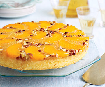 nutty peach upside-down cakes