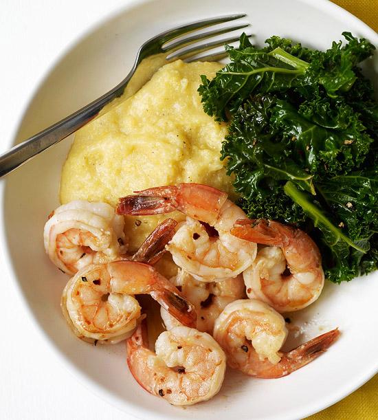 Shrimp & Kale over Roasted Garlic Polenta