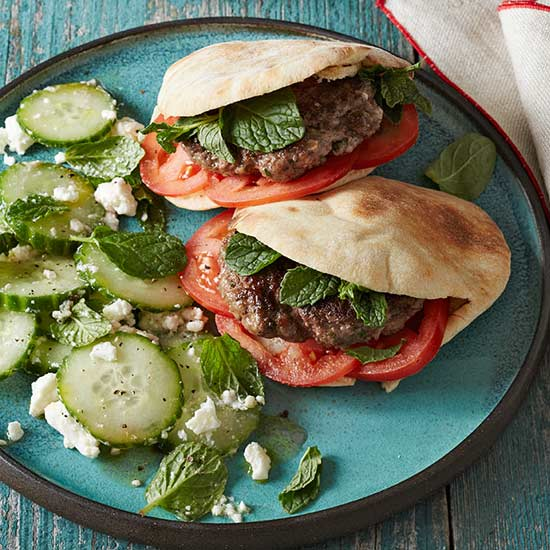 Mini Gyro Burgers with Cucumber-Feta Salad