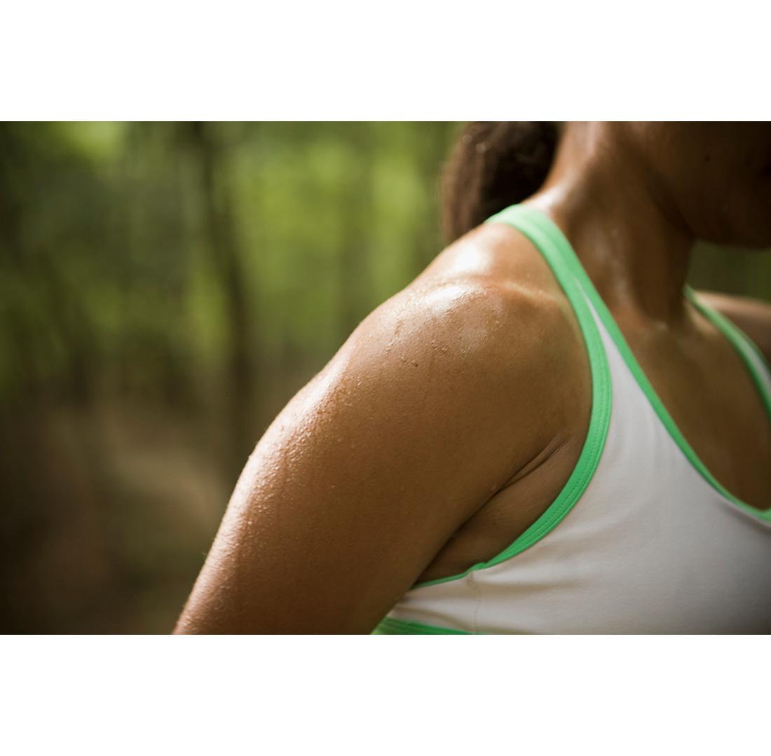 woman sweating