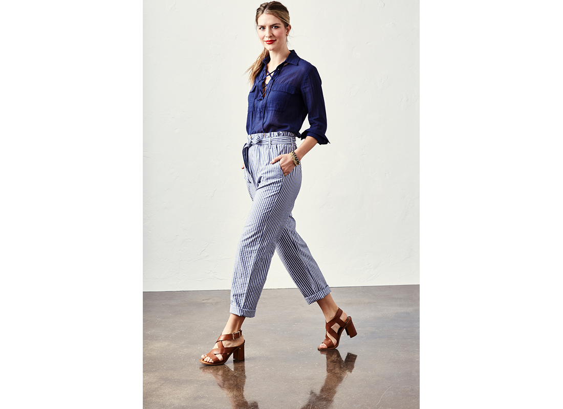 lace-up top, striped pants, glossy lips trends