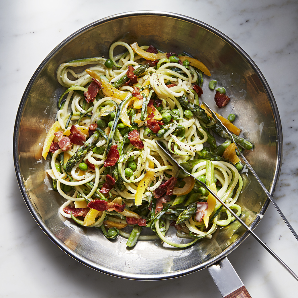 Zucchini Noodles with Asparagus, Peas and Bacon