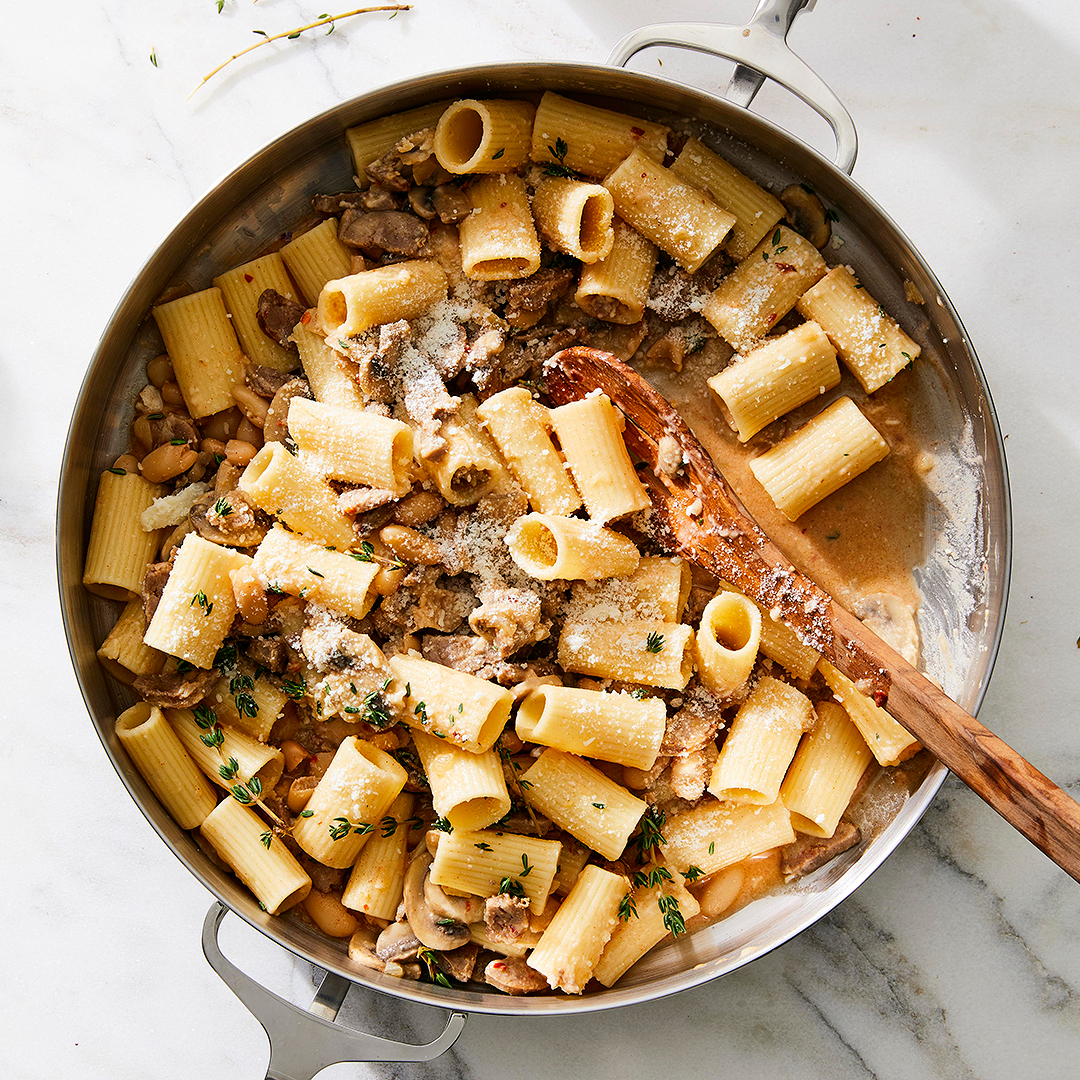Rigatoni with Sausage White Beans and Mushrooms