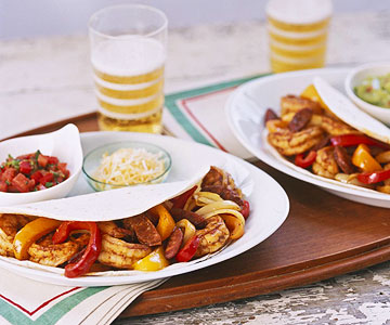 Shrimp and Sausage Fajitas