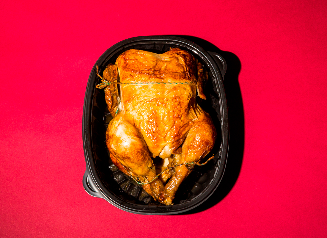 rotisserie chicken in carton