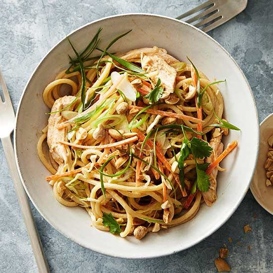 Asian Peanut Noodle Slaw with Shredded Chicken