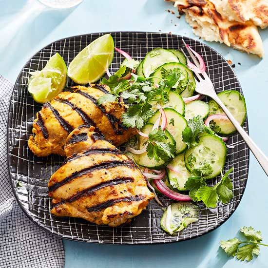 Indian-Style Chicken with Cucumber Salad