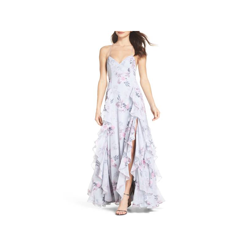 Fame and Partners floral prom gown