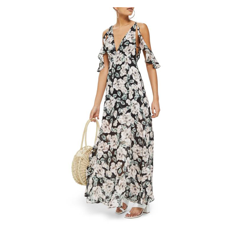 Topshop black floral prom gown