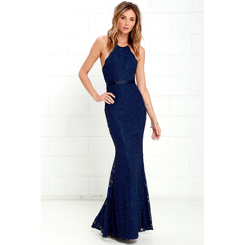 Lulus navy floral prom dress