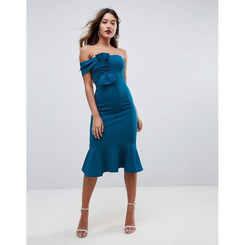Asos blue prom dress with bow and ruffle