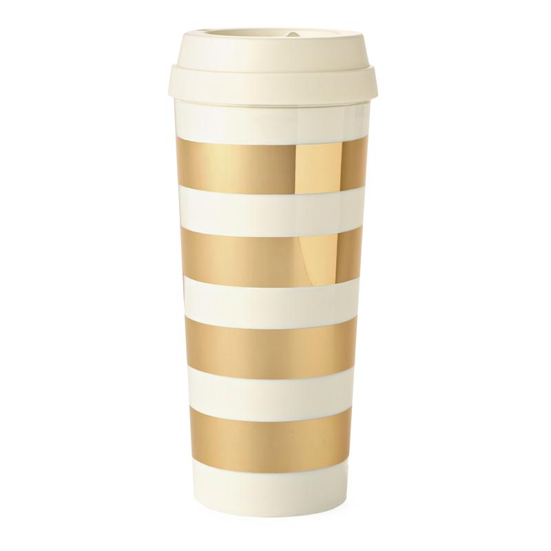 Gold Stripe Travel Mug