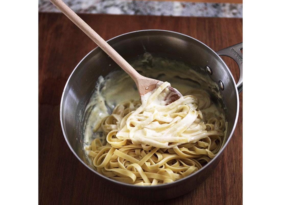 stir sauce and pasta