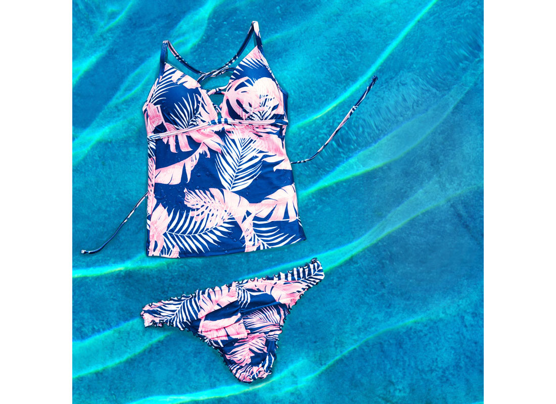swimsuit blue and pink