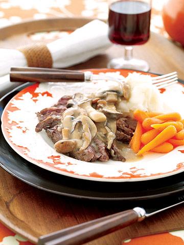 Skirt Steak with Mushroom Gravy