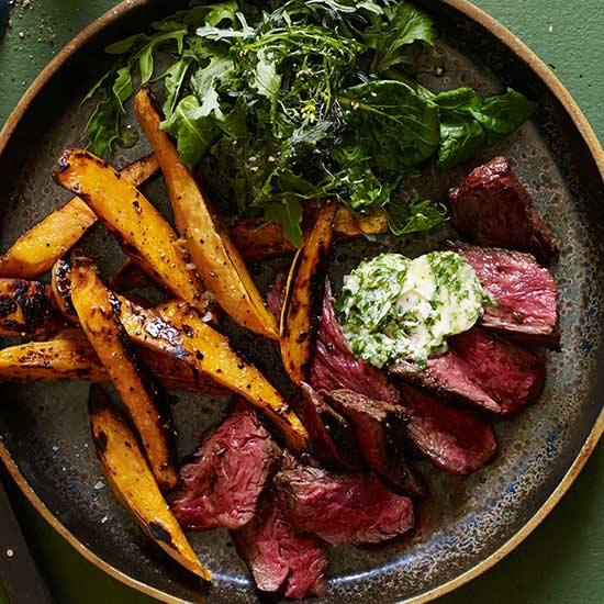 Charred Hanger Steak with Chimichurri Butter