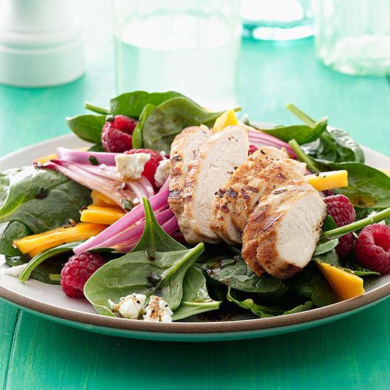 Mango-Raspberry Grilled Chicken Salad