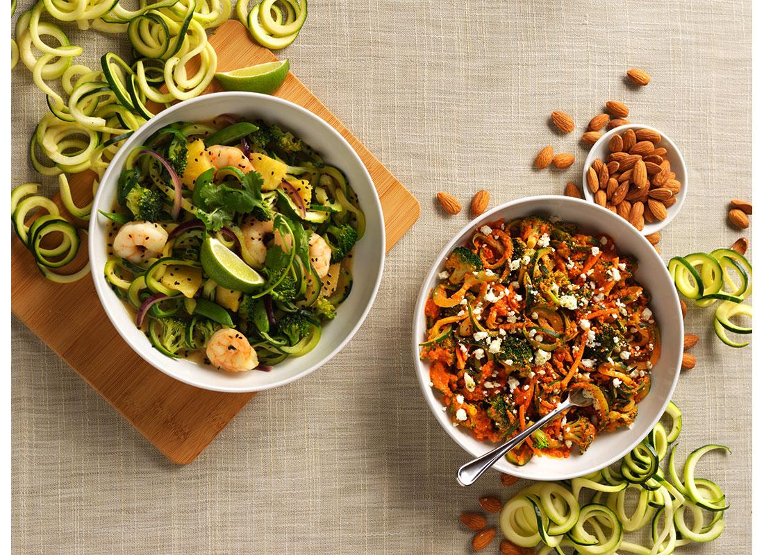 Zucchini Romesco and Zucchini Thai Green Curry with Shrimp Recipes