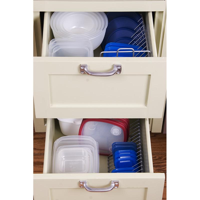 tupperware bowls in kitchen drawers