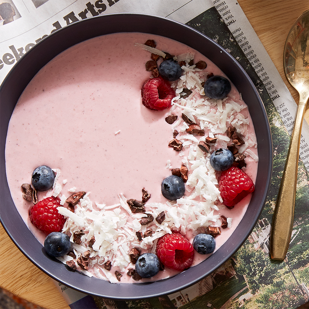 berry coconut smoothie in bowl