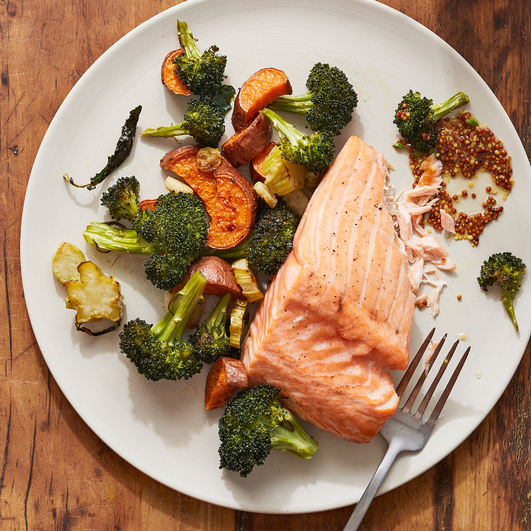 Wild Salmon with Roasted Vegetables