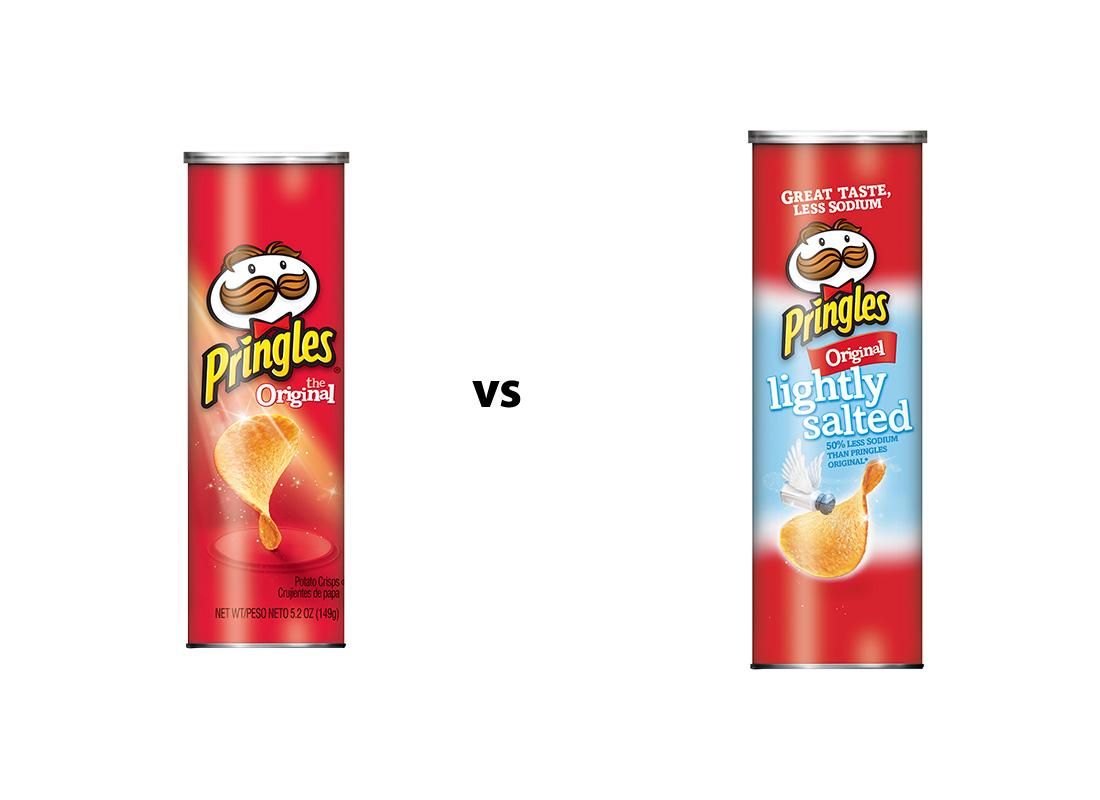 Pringles Original v. 50% Less Sodium