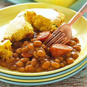 Frank and Bean Bake with Corn Bread Topping