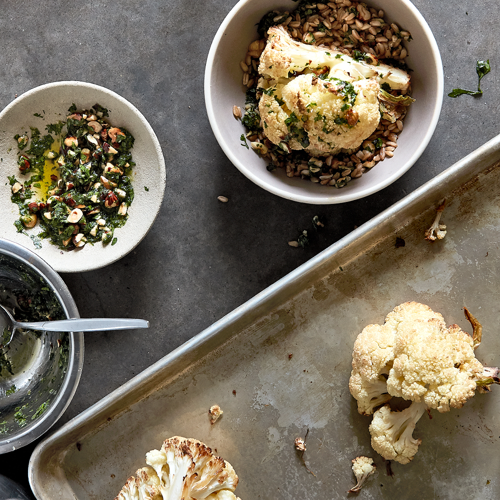 Farro with Cauliflower and Hazelnut Gremolata