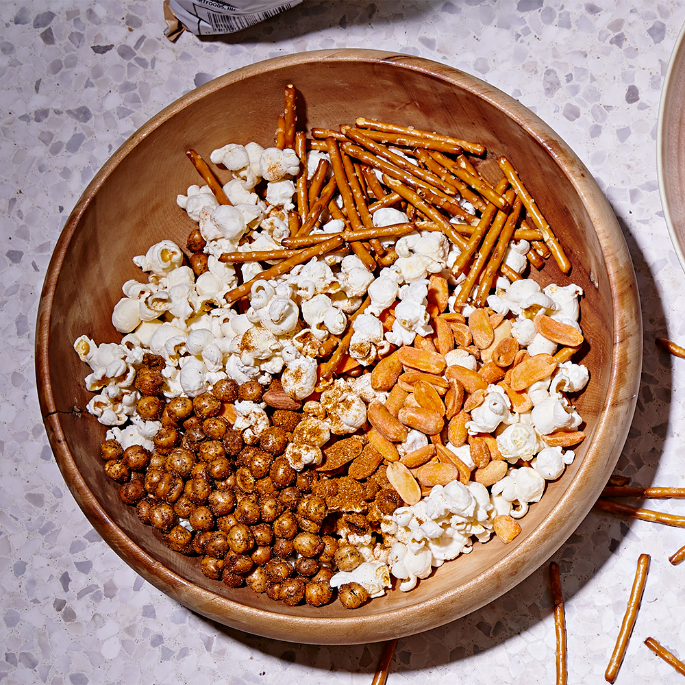 spicy popcorn mix in bowl