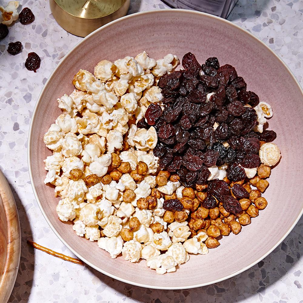 sweet popcorn mix in bowl