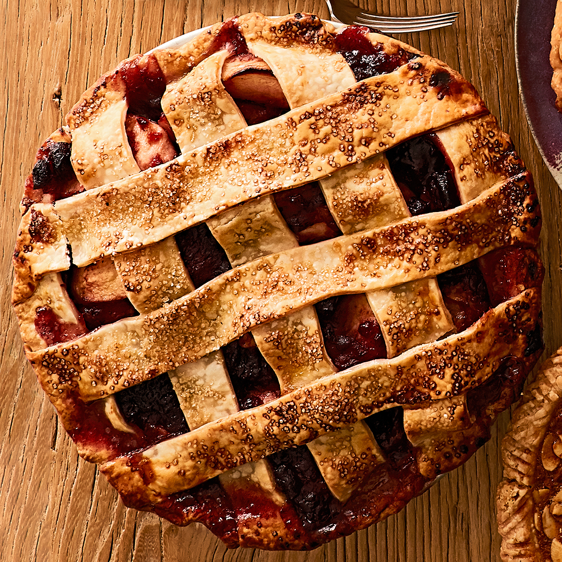 apple-cranberry pie with lattice