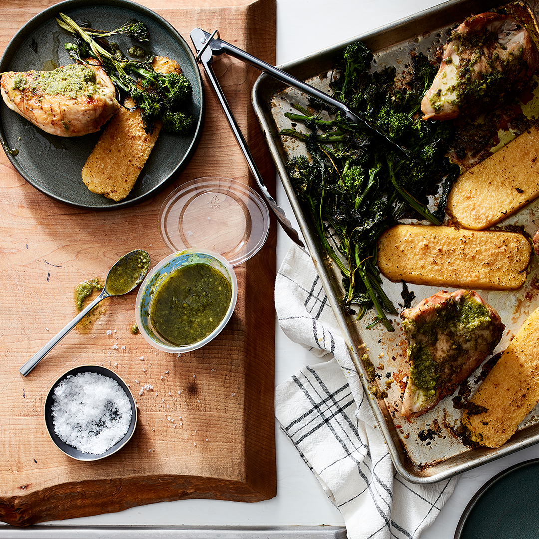 Sheet Pan Pesto Chicken with Polenta