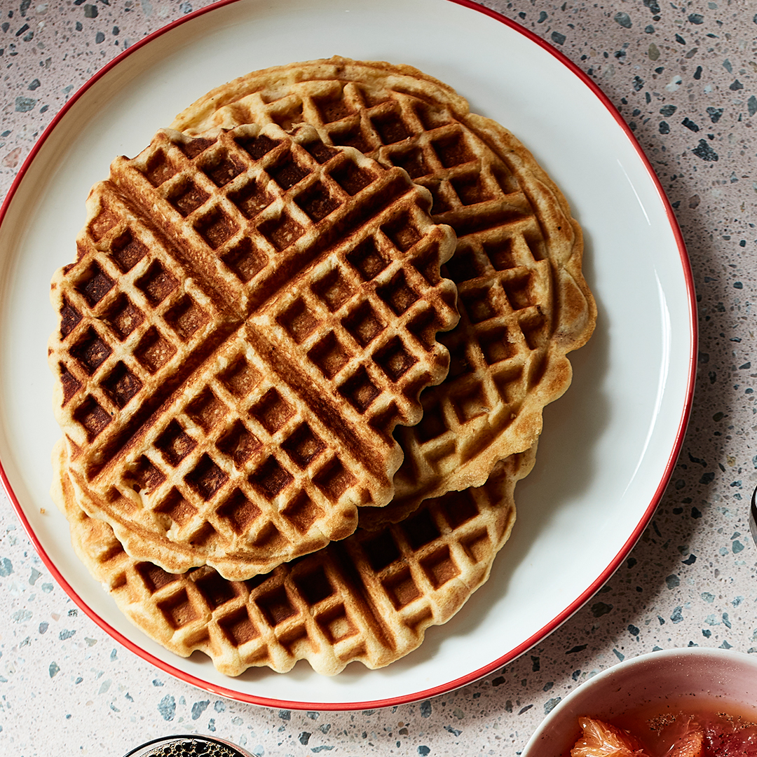 Orange-Spice Waffles on plate