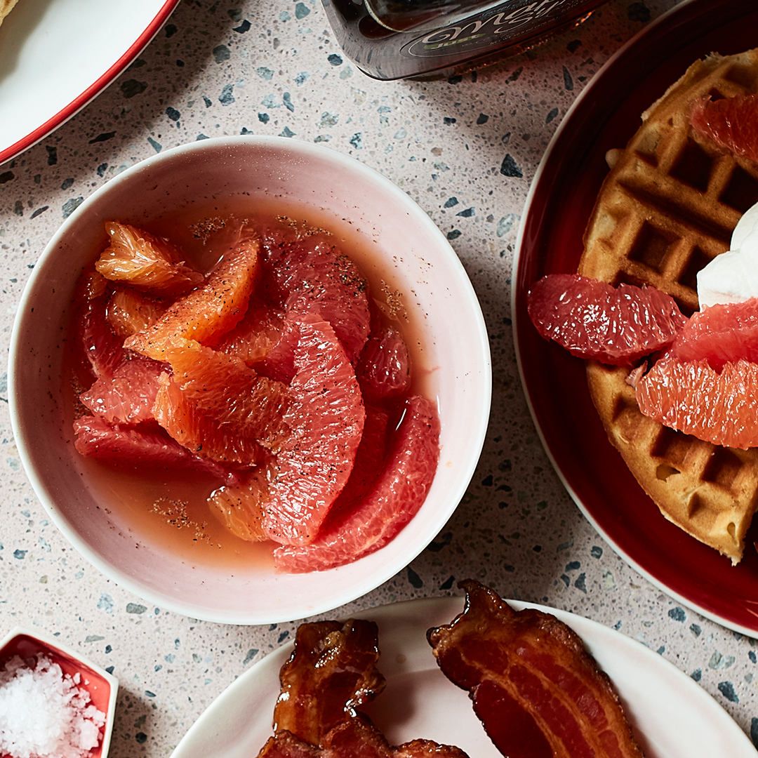 Citrus Relish in bowl with waffles