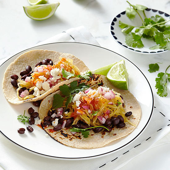 Spaghetti Squash and Black Bean Tacos with Queso Fresco