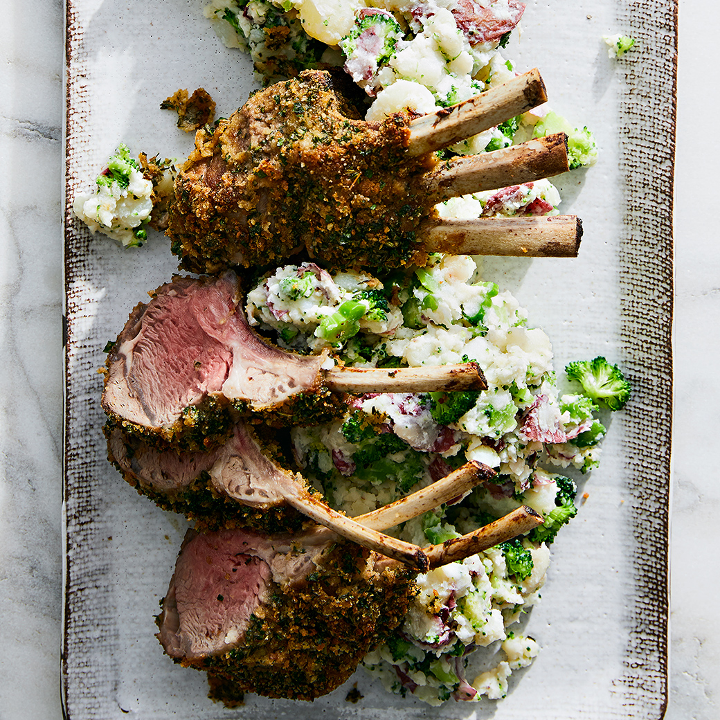 herb-crusted lamb chops with potatoes