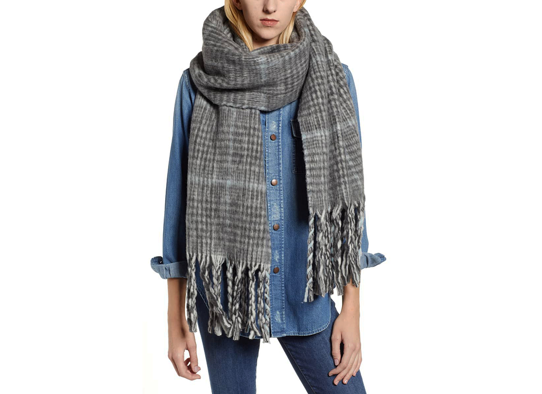 All Saints Plaid Brushed Wool Blanket Scarf