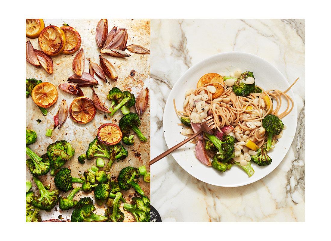 roasted broccoli and white bean pasta split
