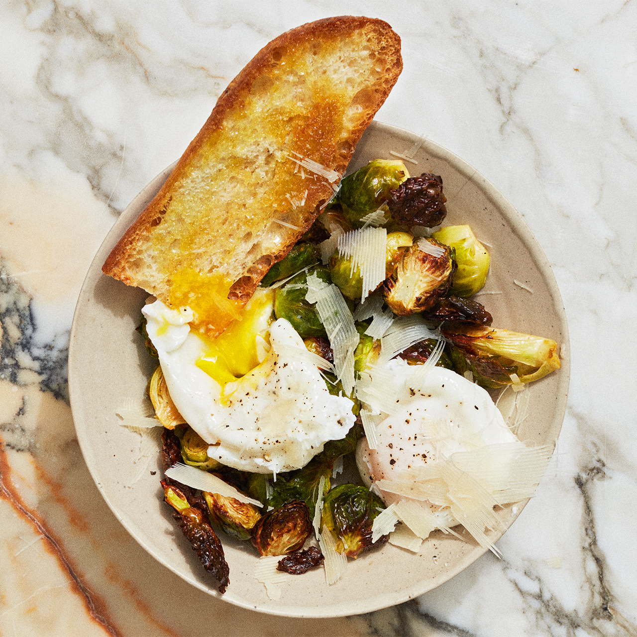Roasted Brussels Sprouts with Poached Egg and Parmesan