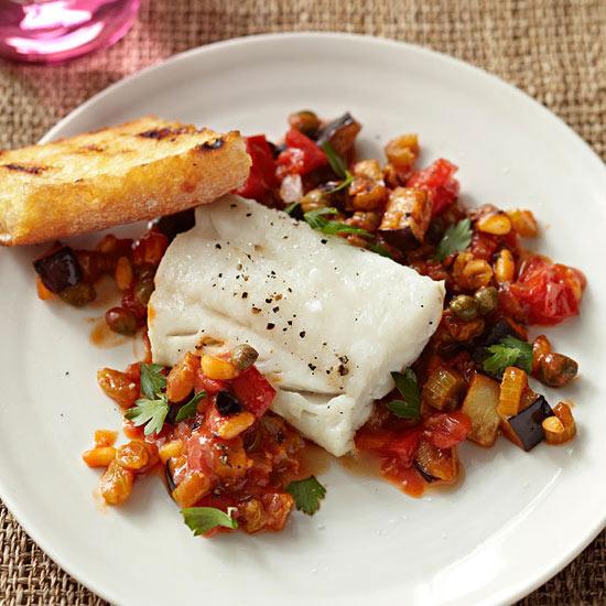 Cod with Eggplant Caponata