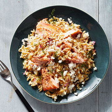 Greek Salmon and Orzo