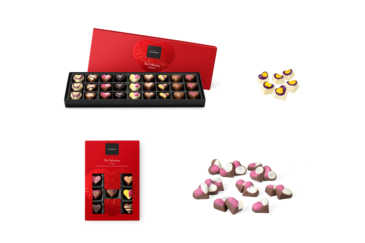 Hotel Chocolat's Valentine Sleekster Box, Valentine H-Box, Passion Fruit Hearts, and Melting Hearts