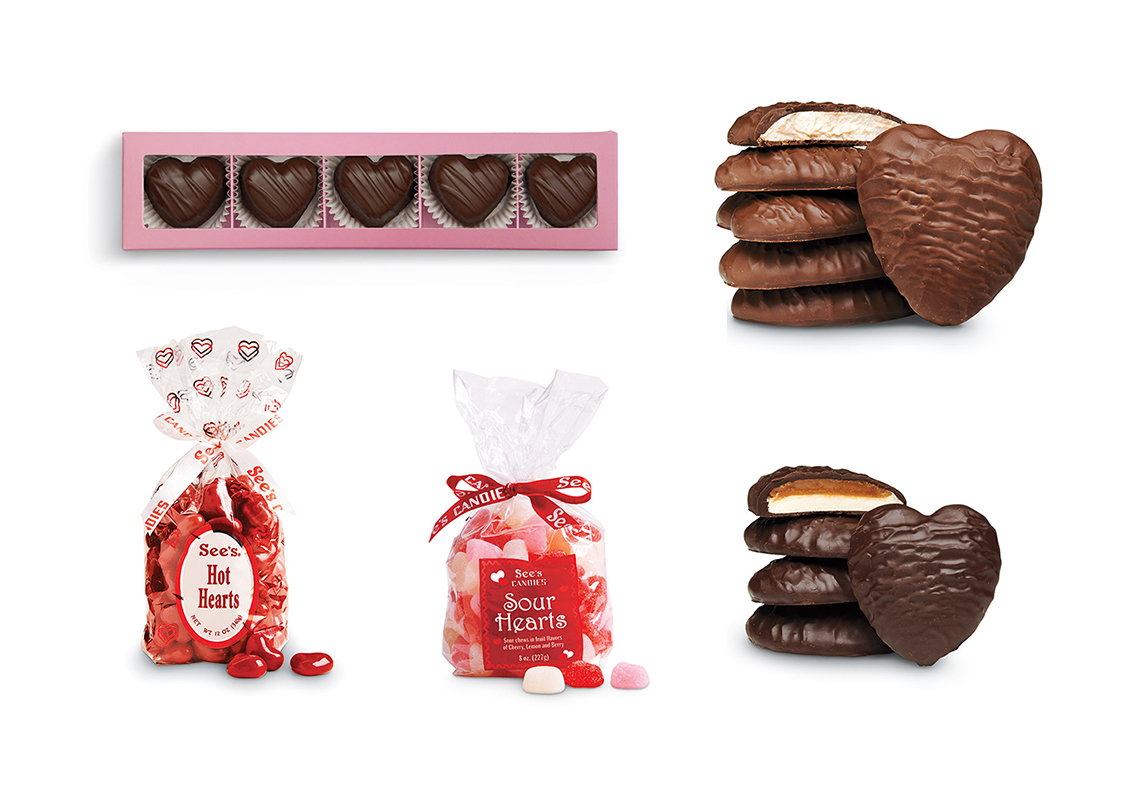 See's Candies Deep Dark Chocolate Truffles, Hot Hearts, Sour Hearts, Marshmallow Hearts, Scotchmallow Hearts