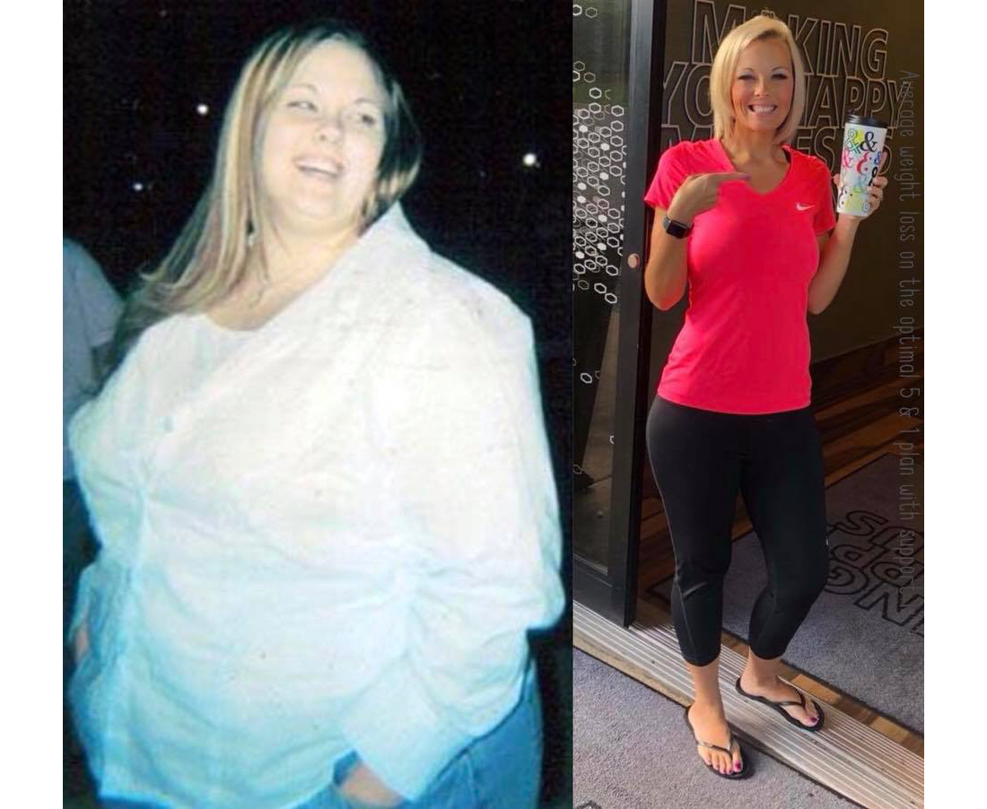 Tiffany Howard BEFORE and AFTER and after weight loss, side by side