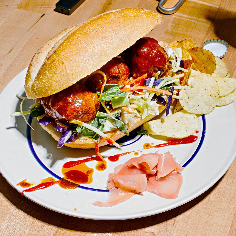 pork meatball sub with hoisin sauce