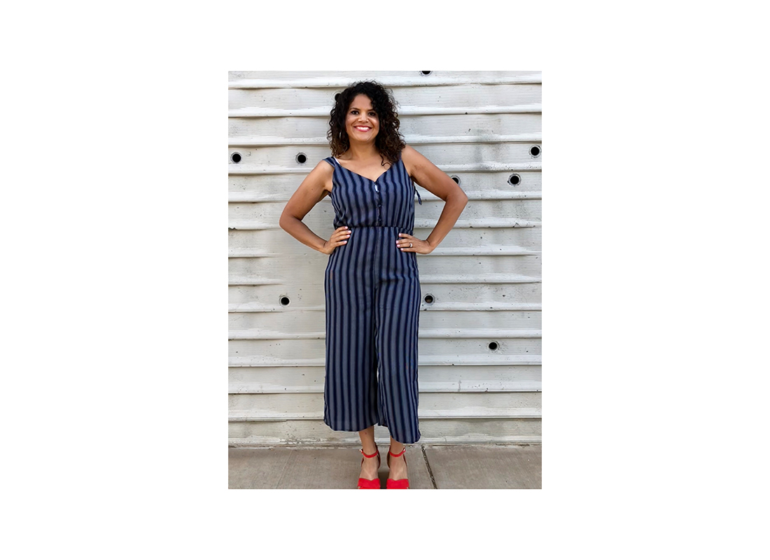 Sonia Smith-Kang after in blue romper
